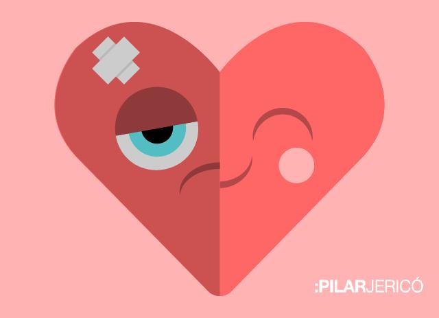 Ilustración de un corazón mitad sano, mitad herido