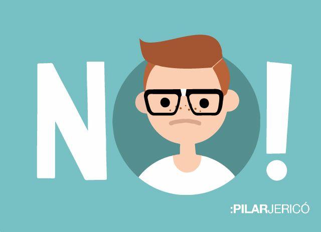 Ilustración de un chico con la palabra ¡No! para la sección Escúchame